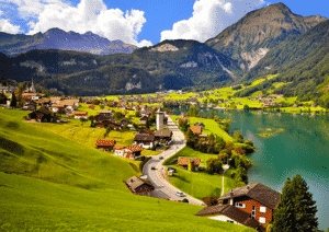 My father would send postcards that looked like this of every country he visited. This is a picture I found online of Switzerland that reminded me of one of his old postcards I still have in a box in the attic.